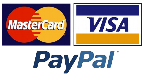 Major cards accepted, visa, mastercard, paypal